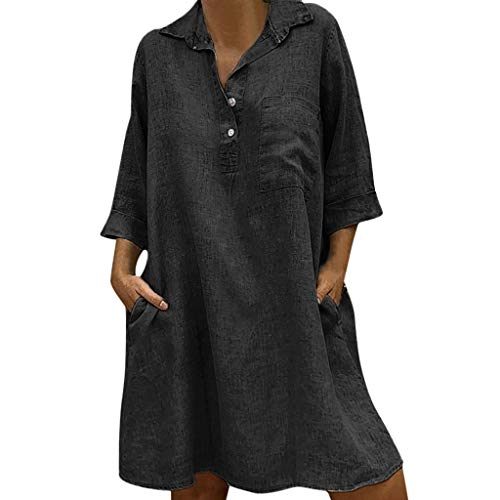 Women's Cotton Linen Solid Bohemian Dresses,Casual Loose 3/4 Sleeve Button Turn Down Collar Tunic Top Dress Pocket Black