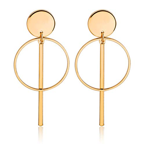 Double Circle Link Bar Dangle Earrings Geometric Round Circle Disc Stick Hoop Earrings for Women Simple Jewlery(Gold)