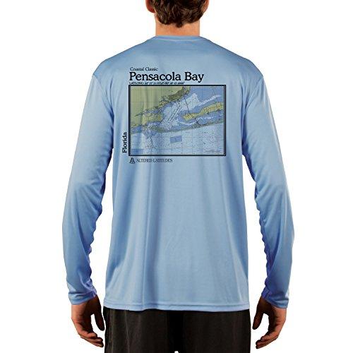 Altered Latitudes Men's Pensacola Bay Chart UPF 50+ Long Sleeve T-Shirt Large Columbia Blue
