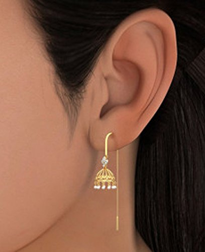 Or jaune 18K 0.09CT TW White-diamond (IJ | SI) et blanc perle Pendants d'oreilles