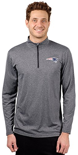 (Icer Brands NFL New England Patriots Men's Quarter Zip Pullover Shirt Athletic Quick Dry Tee, Large, Gray)