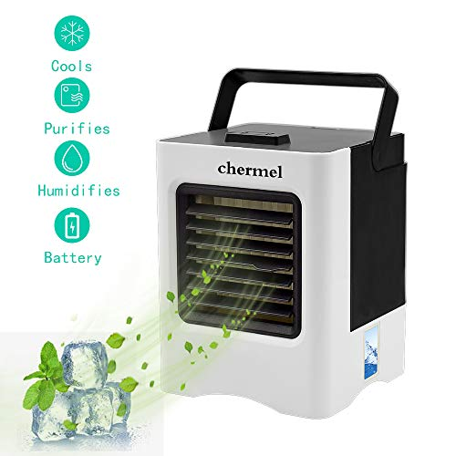 chermel Portable Air Conditioner, 3 in 1 Mini USB Personal Air Cooler, Humidifier, Purifier, Evaporative Cooler Desktop Cooling Fan with 3 Speeds for Office, Home, Kitchen