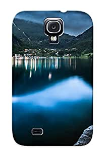 High Quality Exultantor Boat Lake Mountains Dock Rock Stone Cities Reflection Shore Buildings Sky Clouds Skin Case Cover Specially Designed For Galaxy - S4