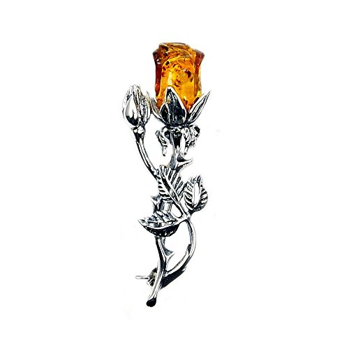 Sterling Silver Natural Baltic Amber Rose Brooch, Pin - Sterling Silver Butterfly Brooch Pin