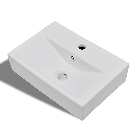 vidaXL Lavandino Lavello bagno Ceramica bianca rettangolare con ...