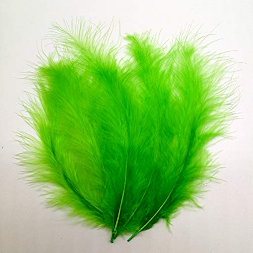 100pcs Turkey Flat Feathers Fluffy Feathers Fringe Trim Colorful Dyed Feather for Crafts Decoration Accessories 3.9-5.9inch(Green)