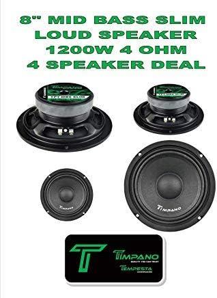 Timpano TPT-MB8 Slim 8 4 Ohm 300W Mid Bass Full Range Loudspeaker Single