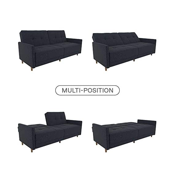 DHP Andora Coil Futon Sofa Bed Couch with Mid Century Modern Design - Navy Blue Linen - Mid-Century Modern design with tufted seat and back cushions and wooden legs. Seat is made with independently encased coils providing additional comfort. Includes center legs for additional support. - sofas-couches, living-room-furniture, living-room - 41r1mQhhN L. SS570  -