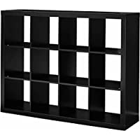 12-Cube Solid Black Versatile Creates Multiple Storage Solutions Horizontal Or Vertical Display Organizer, Dimensions 58.39Lx15.35Wx44.57H