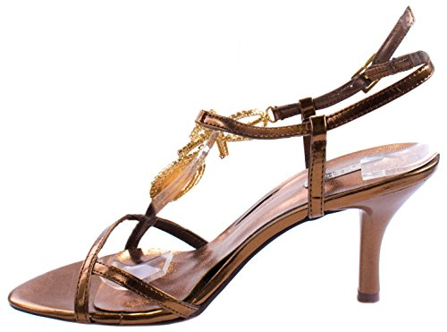 Scarpe Celeste Womens Tony-02 Pumps In Ecopelle Con Fibbia Slingback E Fiocco Decorativo In Strass Bronzo