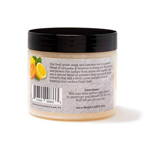 Soapstone Slate and Concrete Wax (6 ounce) by CLARK'S | Enriched with Lemon & Orange Oils | Made with Natural Beeswax and Carnauba Wax | Stone Countertop Wax