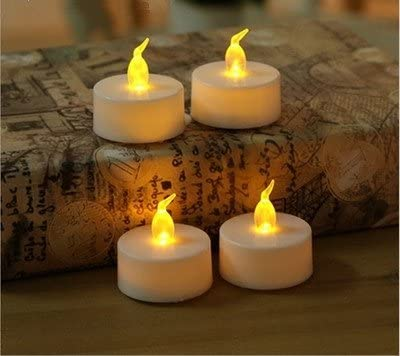ALMF Battery Operated Flameless LED Tealight Candles, Warm Yellow, 24-Pack