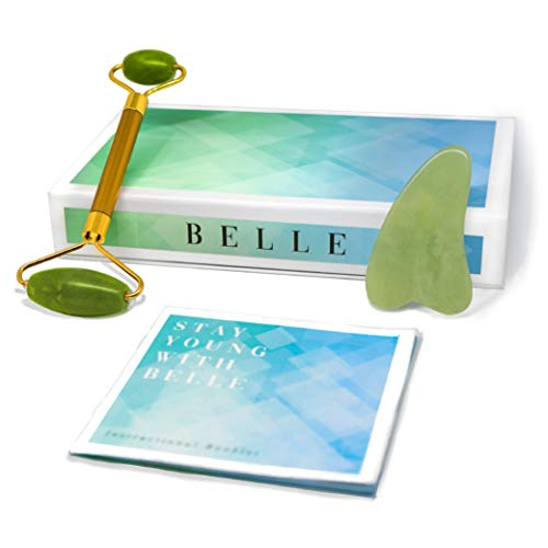 (Belle Jade Roller and Gua Sha Set - Includes Instructional Booklet and Storage Pouch - 100% Real Jade Natural Therapy for Beauty - Chi Stimulation Anti Aging Massager for Face)