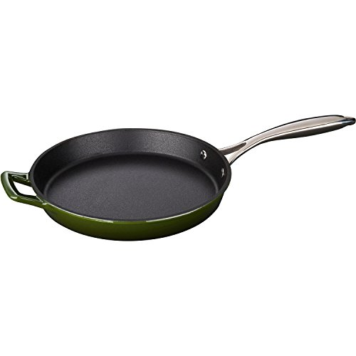 Price comparison product image La Cuisine 10 In Enameled Cast Iron Fry Pan with Riveted Stainless Steel Handle,  Green