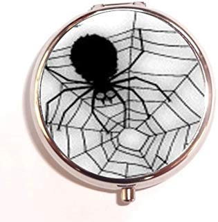 Halloween Black Widow Spider Web Custom Unique Silver Round Pill Box Medicine Tablet Organizer or Coin Purse -