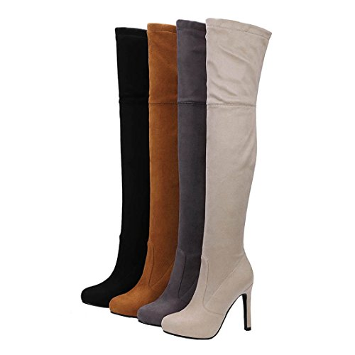 AIYOUMEI Womens Suede Side Zipper Solid Stiletto Autumn Winter Over the Knee Boots Long Stretch Boots Brown L5ZDGzLQ