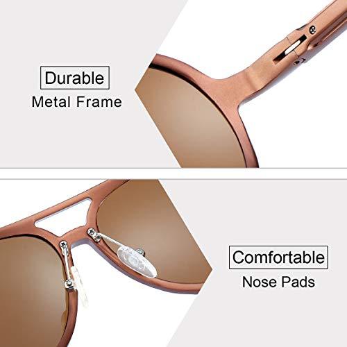 Marrón UVB Sol Gafas Metal Marrón Dañi Rayos Contra 100 Aviador UVA Protección Polarizadas Hombre los de de Ultraligero I16xaf