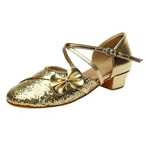 (callm Girls Tango Sandals Children Bling Bowknot Ballroom Tango Salsa Latin Dance Shoes)