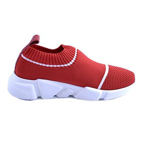 des GIULIA antidérapant Sol N Slip Rayures de 39 Rouge Montée N Sneakers Femme Caoutchouc Tricot NATI avec en avec Modèle pour on Blanches Zwr7qZa1