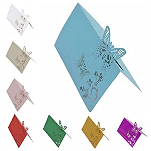 10Pcs 9X12Cm Butterfly Folding Type Laser Cut Heart Shape Table Name Card Place Card Wedding Party Decoration Favor 3