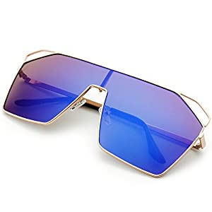 The Fresh Color Mirror Single Lens Metal Wraparound Shield Sunglasses with Gift Box (Gold, Blue)