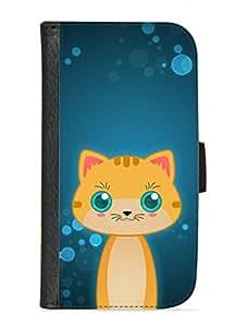 Case Fun Samsung Galaxy S3 (i9300) Faux Leather Wallet Case - Orange Tabby Cat by DevilleART