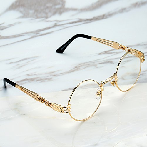 Pro Acme John Lennon Metal Spring Frame Round Steampunk Clear Lens Glasses (Gold Frame/Clear Lens) by Pro Acme (Image #1)