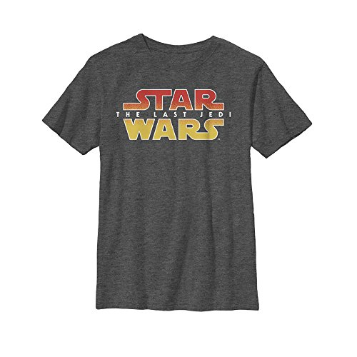 Star Wars Big Boys' Episode 8 Textured Logo, Charcoal Heather, Large - Boys Star Wars Episode