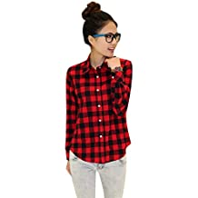 Women Casual Button Down Lapel Neck Plaids Checks Shirts