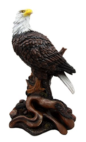 Ebros Wildlife Patriotic Bald Eagle On Tree Branch Statue Wings Of Glory Eagle Decorative Figurine 10.25 Tall