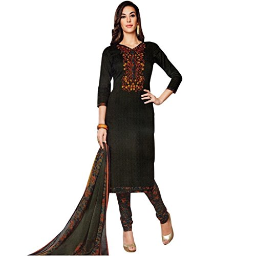 Ready To Wear Cotton Embroidered Printed Salwar Kameez Suit Indian – 0X Plus, Black