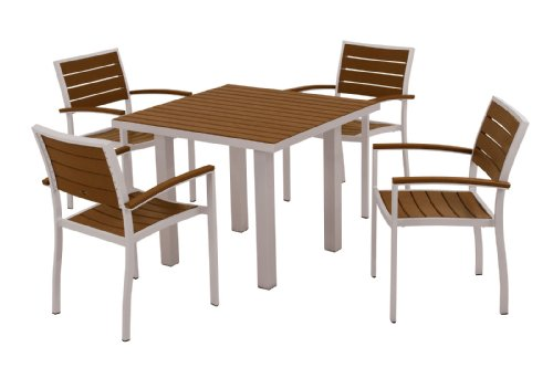 (POLYWOOD PWS118-1-11TE 5-Piece Dining Set, Euro, Textured)
