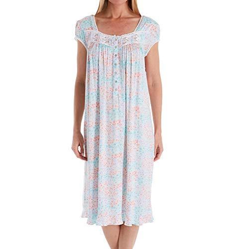 Eileen West Italian Garden Modal Cap Sleeve Waltz Nightgown (5019976) 1X/White Italian Garden