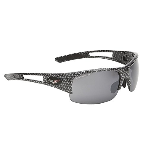 Eckler's Premier Quality Products 25-345644 Corvette Eyewear C6 Rx Capable Rimless Sunglasses,Simulated Carbon Fiber, Smoke Flash Mirror Lenses With MicroFiber