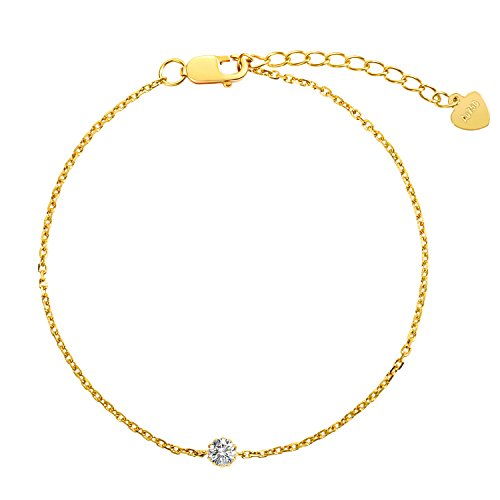 Carleen Solid 18K Yellow Gold Bracelet April Birthstone Diamond Gemstone Bracelets for Women, 5.90+1.20 inch