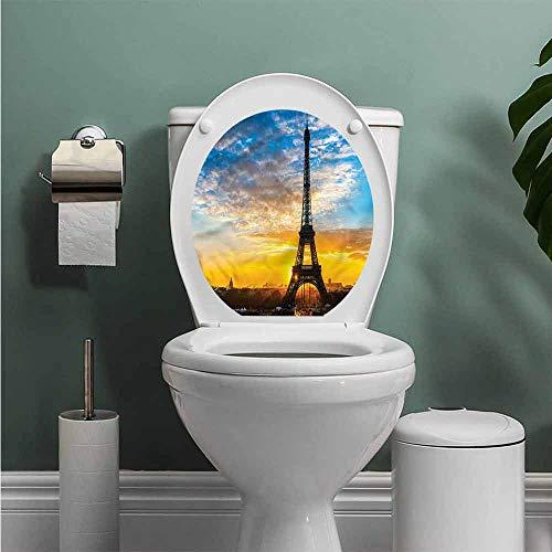 (ThinkingPower Eiffel Tower Toilet Seat Tattoo Cover Sunrise in Capital Vinyl Bathroom Decor W12XL14 INCH)