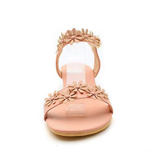 AalarDom Mujer Puntera Abierta Mini Tacón Pu Hebilla Sandalias de vestir Rosa
