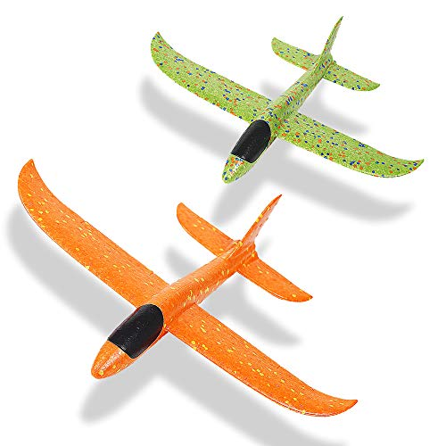 kizh Throwing Foam Airplane Toys 13.5 Inches Flying Glider Inertia Plane Manual Circling Functions Flying Aircraft Fun Best Outdoor Fun for Kids Children Boys Girls 2pcs Green & Orange