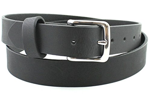 Best Bridle Black Stainless Classic Men's Leather Belt Full Grain Custom Hand Made 1.25 and 1.5 Inch (Fossil Casual Belt)