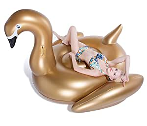 Jasonwell Giant Inflatable Golden Swan Pool Float Inflatable Party Float Toy with Rapid Valves Summer Outdoor Swimming Pool Lounge Raft Decorations Toys for Adults & Kids 75x 67 x 51.2-Inch