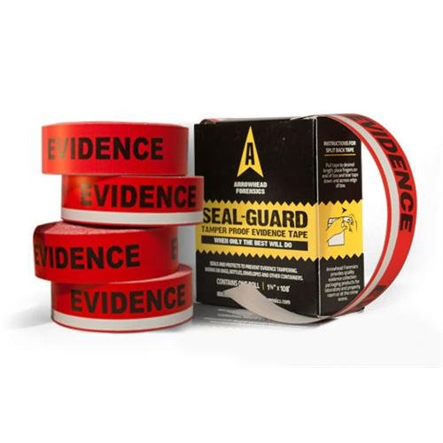 (Arrowhead Forensics A-3001 SealGuard Split Back Evidence Tape, Red/White Stripe Imprint, 1296