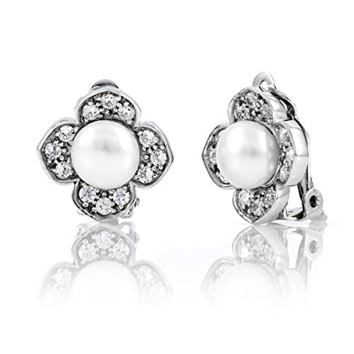 Janet's Pearl Clip On Earrings - Freshwater Button Pearl by Emitations.com