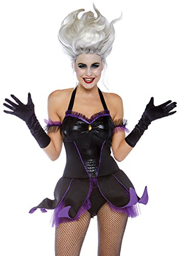 Leg Avenue Womens Wicked Mermaid Sea Witch Costume, Black/Purple, Medium -
