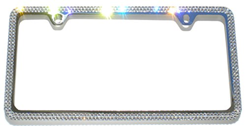 Cool Blingz 2 Row Crystal License Plate Frame 2 Holes Rhinestone Bling Made with Swarovski Crystals