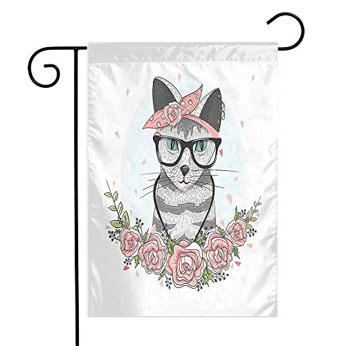 Mannwarehouse Kitten Garden Flag Hipster Cool Cat with Spectacles Scarf Necklace Earrings and Flowers Little Hearts Premium Material W12 x L18 Multicolor