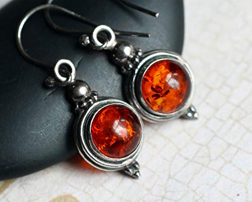 Amber Earrings, Amber Jewelry, Oxidized Sterling Silver Earrings, CircesHouse,
