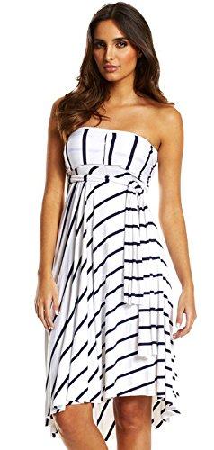 Elan Womens Convertible 8-Way Dress Skirt White/Navy Large