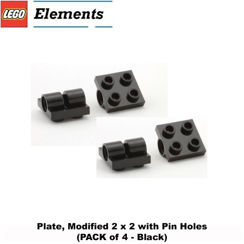 Lego Parts: Plate, Modified 2 x 2 with Pin Holes (PACK of 4 - Black)