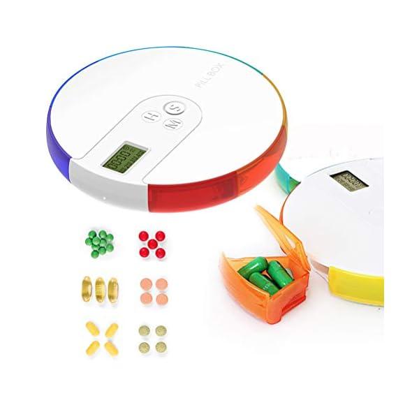 NICEXMAS - Pastillero digital portátil con indicador de fecha de alarma, pastillero inteligente con recordatorio 10