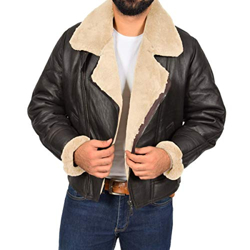 r WWII Shearling Sheepskin Leather Jacket Mens Aviator Sheepskin Pilot Jacket Blen Brown Champagne (3XL) ()